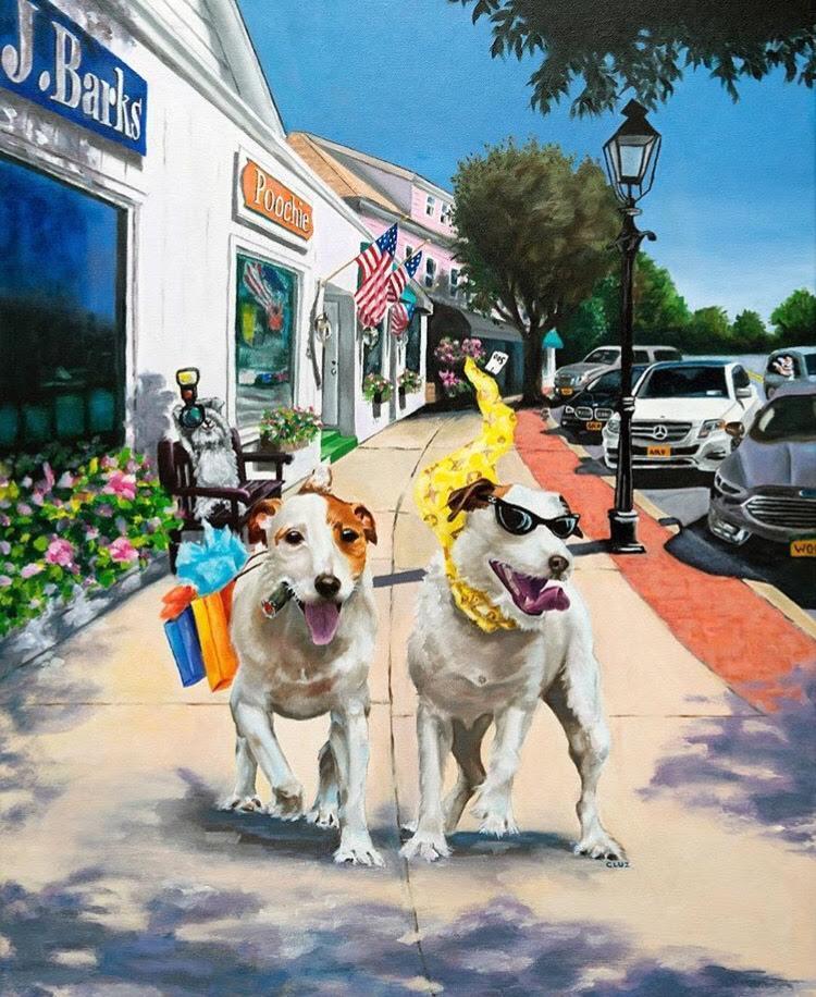 Art artist carol luz jack russel dogs dog portrait oil canvas artwork pets