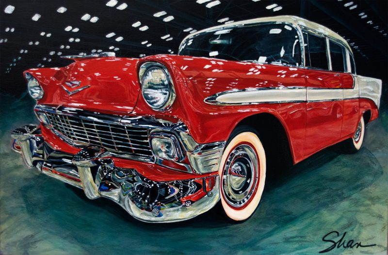 art artist vehicles painting acrylic female cars sports classic realistic